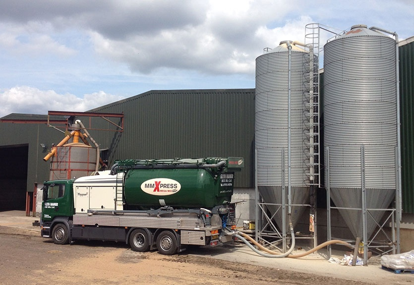 Blowing Pig Feed directly into a silo